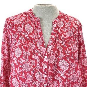 Eddie Bauer Raspberry Pink Floral Popover Tunic XL